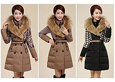 Fashion Elegant Luxurious Fur Collar Slim fit Waist Thicken Long Coat Women down Jacket Winter Warm Trench Warm Outwear