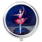 Cheap Vanroe 'Ballerina Princess' Designer Compact Mirror in Gift Box – For Teen Girl or Dancer, UK Artist, Magnified