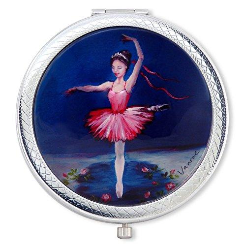 Vanroe 'Ballerina Princess' Designer Compact Mirror in Gift Box - For Teen Girl or Dancer, UK Artist, Magnified (Signed Ballerina)