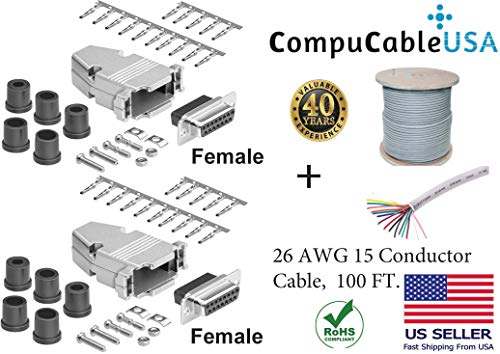 (CompuCablePlusUSA.com Best 2 Pcs Set DB15 Female Crimp Type Connector Kits with Plastic Hood+Gold Plated Pro D-Sub Female Pins+Strain Relief grommet+26AWG 15 Conductor Shielded cable 100' Complete Set)