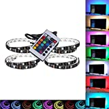 Hmore LED Strips Bias RGB Lights USB Multi color RGB Backlight Kit with remote Control for HDTV, Flat Screen TV LCD, Desktop PC(set of 4)