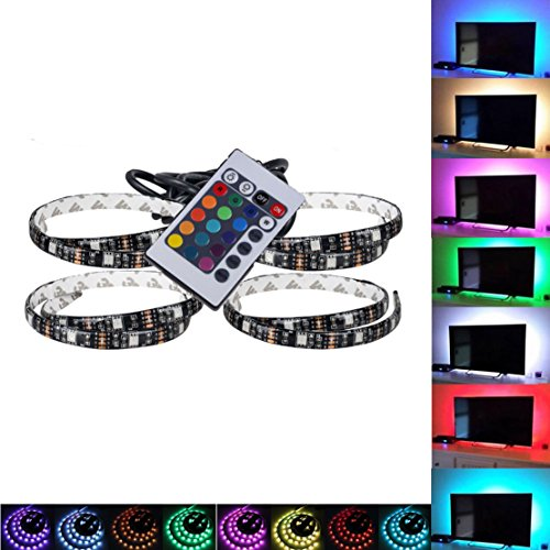 Hmore LED Strips Bias RGB Lights USB Multi color RGB Backlight Kit with remote Control for HDTV, Flat Screen TV LCD, Desktop PC(set of 4) by Hmore