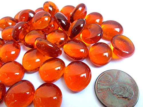 50 Mini Bright Orange Glass Gems, 11-14 mm, Flat Back Glass Marbles,Vase Fillers, Mosaic Tiles, -