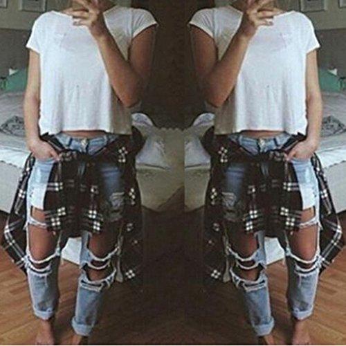 Elastique fonc Casual Taille Prettyia Longue Femme Jeans Dchirs bleu S XL Denim Haute Pantalon P 6vwqgBnWW4