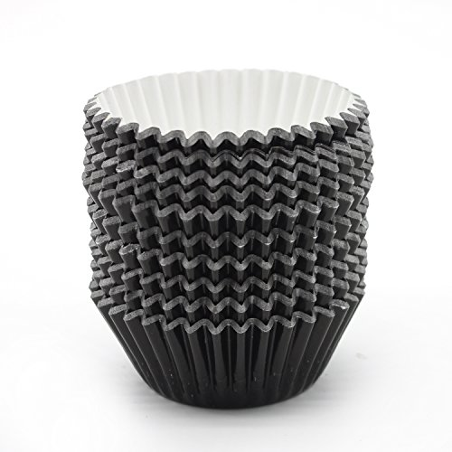UNIQLED Pack of 200 Metallic Foil Paper Muffin Cupcake Liners Baking Cups Standard Size (Black)
