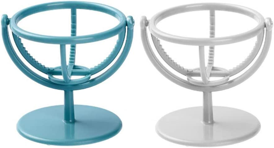 IKAAR 2pcs Beauty Blender hHolder Makeup Sponge Puff Holder Rotatable Wall-Mounted Cosmetic Shelf Sponge Holder Stand (Blue + White)
