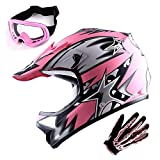 WOW Youth Motocross Helmet BMX MX ATV Dirt Bike Helmet Matt Star Pink + Goggles + Skeleton Pink Glove Bundle