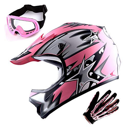WOW Youth Motocross Helmet BMX MX ATV Dirt Bike Helmet Matt Star Pink + Goggles + Skeleton Pink Glove Bundle -