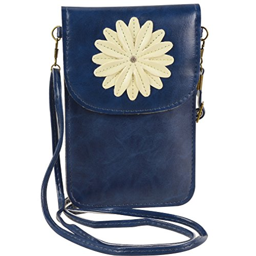 Faux Leather Women Small Crossbody Shoulder Bag Touch Screen Cell Phone Purse Wallet with Pocket for motorola one, moto g7 play, g7, z3 play, z3, g6 play, large Phones up to 6.2 inch (Blue) (Touch Phone Cell Screen)
