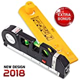 Ofircreation 3-in-1 Laser Level 3.5mV w/Built-In Measuring Tape   Multipurpose Woodworking, Contractor Tool   Imperial & Metric Measurements   Vertical & Horizontal Use   Picture Hanger Tool