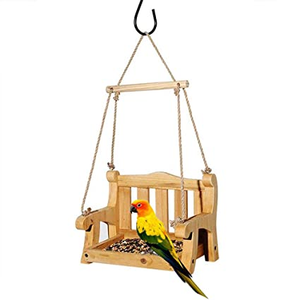 Amazoncom Wooden Hanging Outdoor Bird Feeder Platform Courtyard