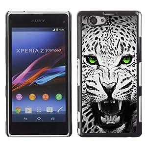 iBinBang / Funda Carcasa Cover Skin Case - Verde esmeralda Ojos del leopardo de Jaguar Negro - Sony Xperia Z1 Compact D5503