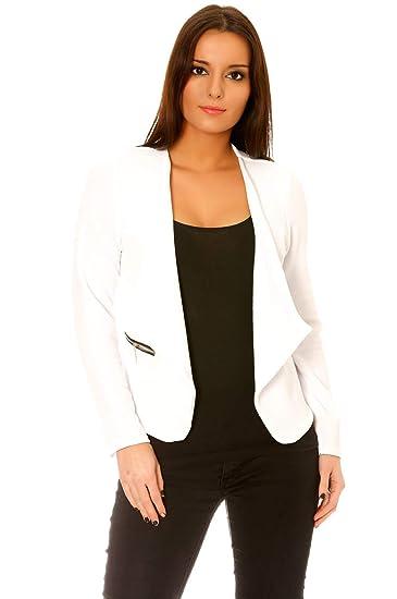 Veste de Blazer Femme Blanche avec Poches et Zip doré - Unique, Blanc fad4f90c8b2b