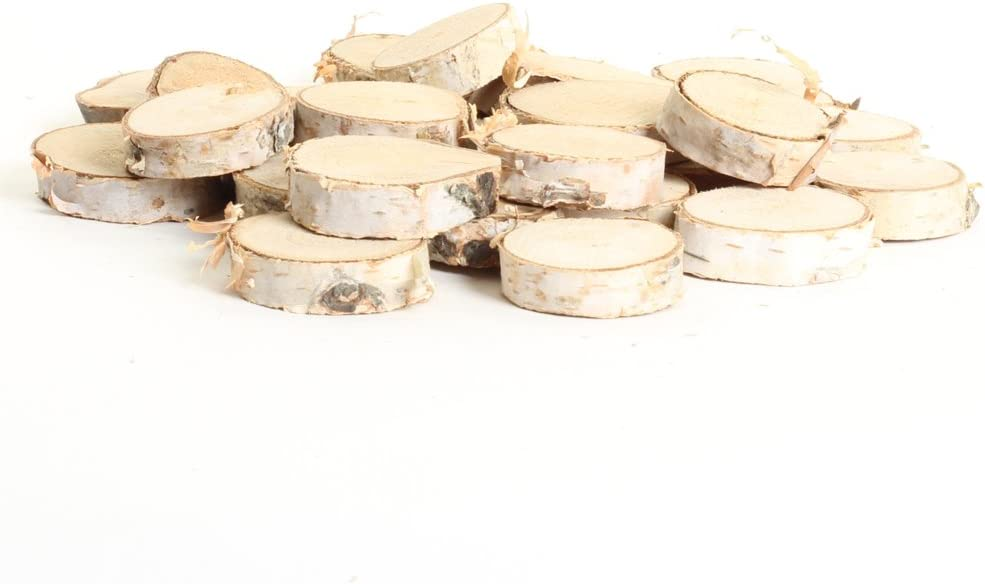 """Koyal Wholesale Birch Wedding Disc Rounds, Birch Slices, Real Wood Decorations, Centerpieces, Log Decor (1-2"""", 24-Pack)"""