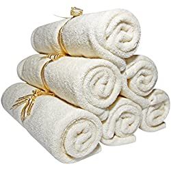 "#1 Bamboo Baby Washcloths - Durable, Soft, Thick & Suited for Eczema Skin. Luxury Facial Towels Best for Baby Shower Registry & Gifts. Natural, Dye Free & Safe. 10.6"", 6 pack, Free EBook -Smiling Gaia"