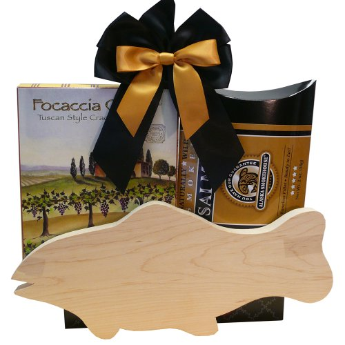 Catch of The Day Smoked Salmon Gift Set with Cutting Board (Crackers Smoked Salmon)