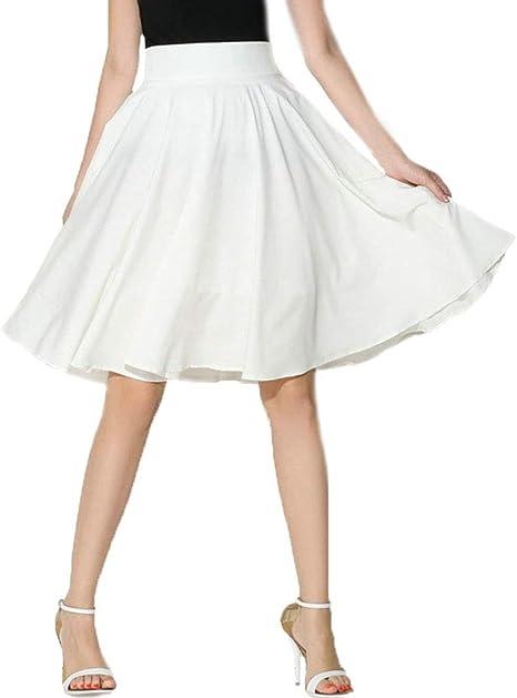 Falda Mujer Verano Elegante Moda La Rodilla Faldas Cintura Alta ...
