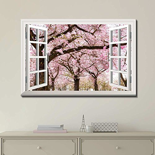 Canvas Print Wall Art – Window Frame Style Wall Decor – Pink Cherry/Sakura Blossom in Spring | Giclee Print Gallery Wrap Modern Home Decor. Stretched & Ready to Hang – 24″ x 36″