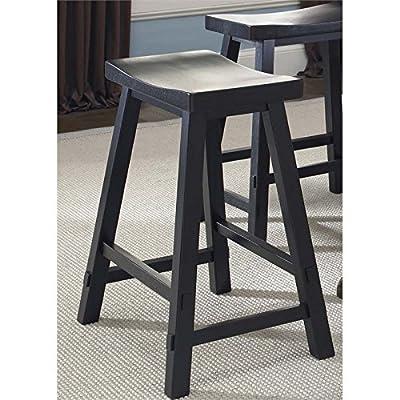 """Liberty Furniture Creations II 30"""" Sawhorse Barstool, black (RTA), W19 X D16 X H28, Black & Tobacco"""