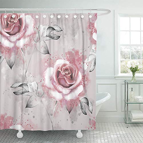(Emvency Shower Curtain Waterproof Adjustable Polyester Fabric Pink Flowers and Leaves on Gray Watercolor Floral Rose in Pastel Color 66 x 72 Inches Set with Hooks for Bathroom)