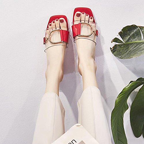 Fashion Drag Sandals Color Head EU39 Beige Outdoor And UK6 Red word XY Slippers Size Sandals Square Summer Transparent With Female One CN39 zqwn6F4