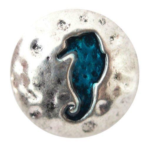 Chunk Snap Charm Metal Sea Horse Blue