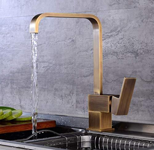 (Mixer Tap for Kitchen Sink Antique Brass Single Lever Square Mono Kitchen Sink Mixer Tap Swiveling Spout Kitchen Faucet)