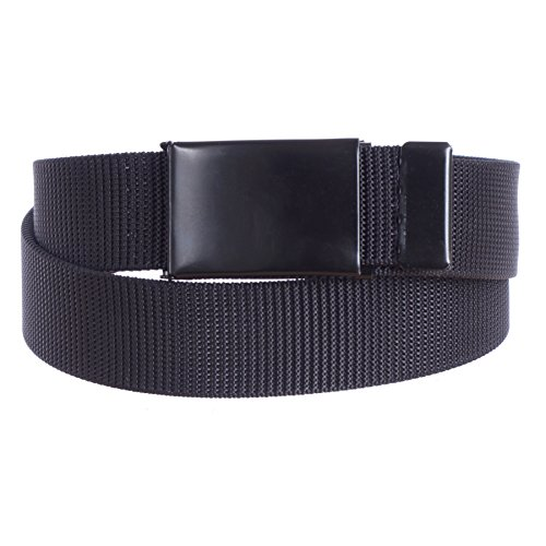 Sunny Belt Women's Military Canvas Web Belt with Black Buckle (Black, One Size)