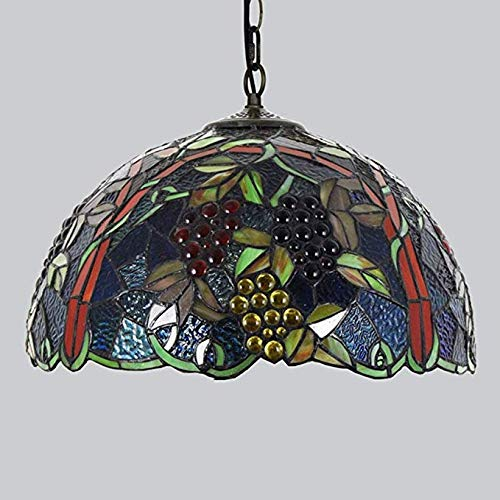 Hmxgm Tiffany Style Chandelier, Floral Design Stained Glass Classic 16.9 Inch Grape Creative Ceiling Lights for Dining Room Living Room Decoration Lighting