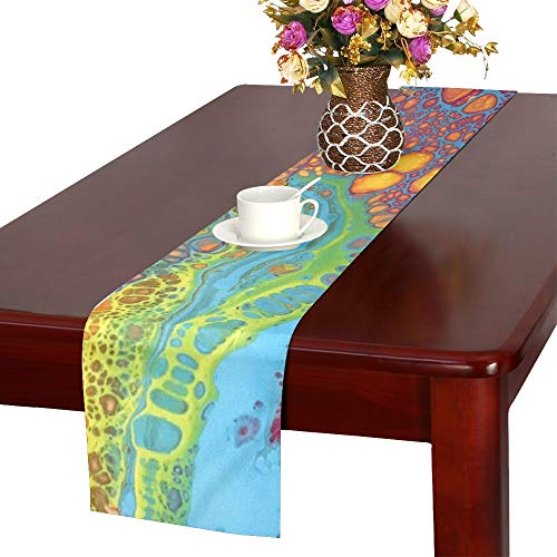 (Acrylic Turquoise Magenta Yellow Modern Blue Table Runner, Kitchen Dining Table Runner 16 X 72 Inch For Dinner Parties, Events, Decor)