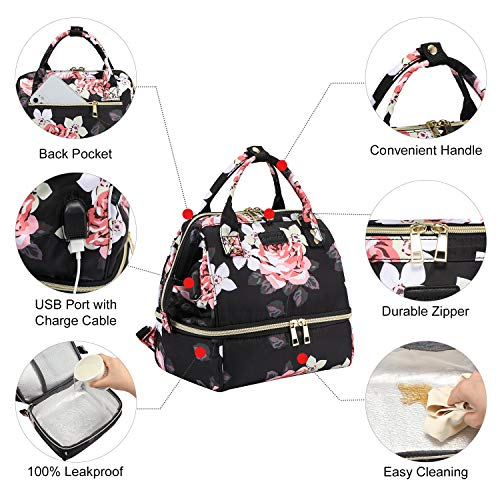 Insulated Lunch Bag Wide-Open Lunch Backpack, Water-Resistant Leakproof Lunch Tote Bag for Women and Men, for Work/Picnic/Hiking/Beach/Fishing Floral