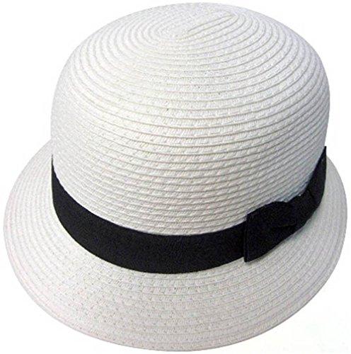 Simplicity Women's Classic Cloche Bucket Straw Hat w/ Ribbon Bow
