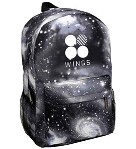 Price comparison product image KPOP BTS Backpack Bangtan Boys Starry Sky Satchel Schoolbag Sports Bags (WINGS 2)