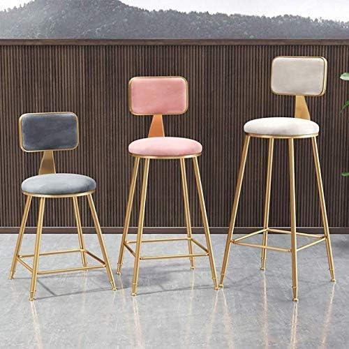 Mlzaq Tabourets de bar Chaises salle à manger tapissé avec for Cuisine Dossier/Pub | Or Pieds en métal | Coussin velours gris Barstools (Size : 45cm)