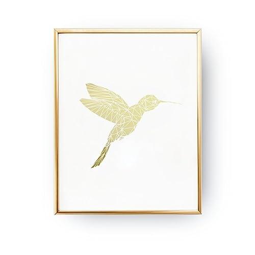 hummingbird print gold foil print wall decor gold hummingbird poster minimal art