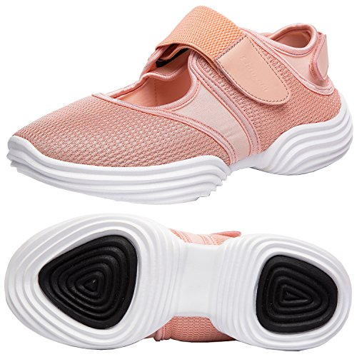 SILISITE Women's Walking Shoes Elastic Adjustable Lightweight Breathable Athletic Outdoor Shoes Size 6.5 B(M) US Pink Orange