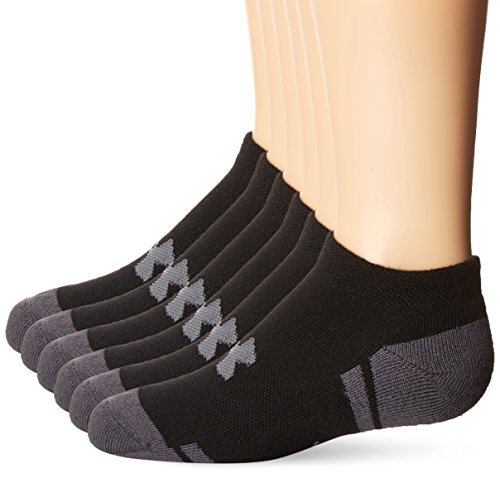 (Under Armour Boy Resistor 3.0 No Show Socks, Youth Large, Black/Graphite)