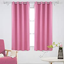 Deconovo Thermal Insulated Grommet Blackout Window Curtains for Nursery Room, 52x63 Pink,1 Pair