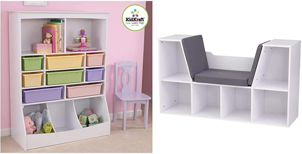 KidKraft Wooden Wall Storage Unit with 8 Plastic Bins & 13 Compartments - White, 53'' x 20'' x 8'' & Bookcase with Reading Nook Toy, White, 46.46'' x 15.16'' x 5.04''