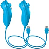 2Packs Nunchuck Controller Remote Video Game for Nintendo Wii Wii U Console - Blue