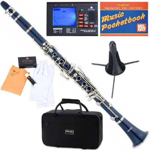 Mendini ABS B-Flat Clarinet, Blue and Tuner, Case, Stand, Pocketbook - MCT-BL+SD+PB+92D Mendini by Cecilio
