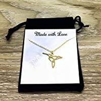 Origami Hummingbird Charm Handmade Necklace - Silver-Plated - Personalized - Gift for Her