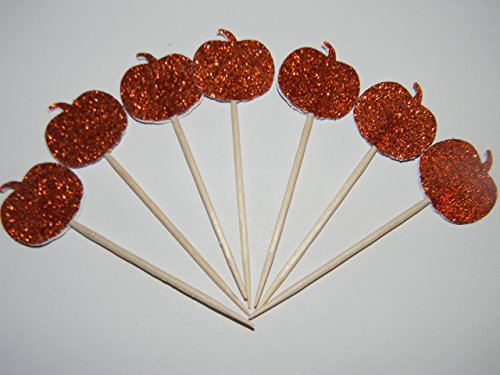 Set of 24 Orange glitter Halloween pumpkin fall cupcake toppers party picks]()