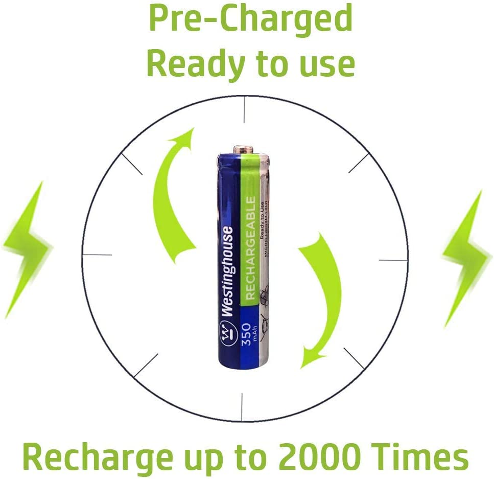 24pc Westinghouse Pre Charged Always Ready AAA 1.2 Volt 350mAh Ni-Mh Rechargeable Battery for Solar Garden Lights