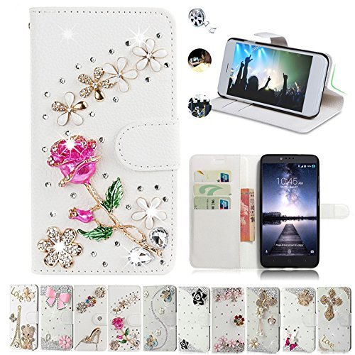 ZTE Zmax Pro Case, ZTE Carry Cases, AMASELL Glitter Bling Diamonds [Stand View] PU Leather Flip & Card Slots Holder Folio Wallet Cases for ZTE Zmax Pro / Carry Z981 Cover, rose flower (Zte Zmax Phone Case Wallet Bling)