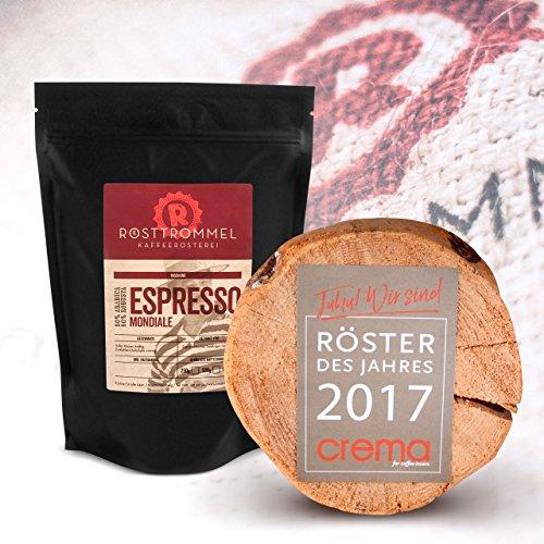 Espresso beans MONDIALE - casa de asado alemán del año 2017 - chocolate negro, fuerte, cremoso - granos de café enteros - para las máquinas de café ...
