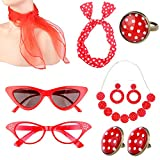 1950's Womens Costume Accessories Set Chiffon Scarf Bandana Tie Headband Cat Eye Glasses Earrings Ring Necklace for Party (Red)