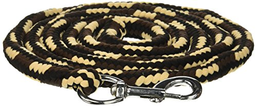 Tough 1 8' Braided Soft Poly Lead Rope, Black/Tan/Brown, (Braided Lead Rope)