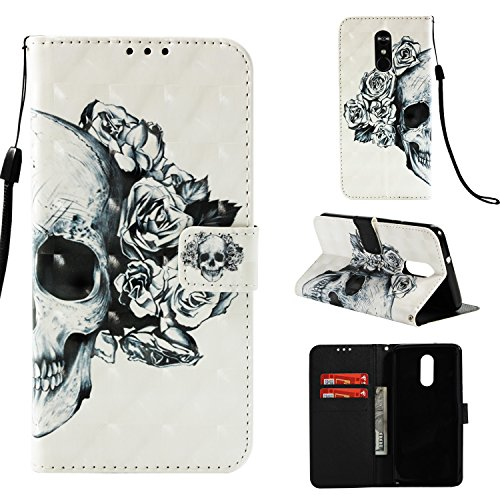 HAOTP LG Stylo 4 Case,LG Stylo 4 Plus/LG Stylus 4 Wallet Case,LG Stylo 4 3D Beauty Luxury PU Leather Protective Case Cover with Card Slots and Stand for LG Stylo 4 2018 Floral White Skull Flower