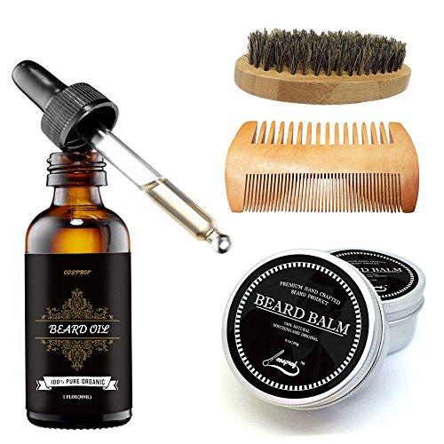 Cosprof Beard Balm Moustache Cream Beard Oil Set Conditioner Beard Balm Healthy Moisturizing Moustache Wax Brush Comb